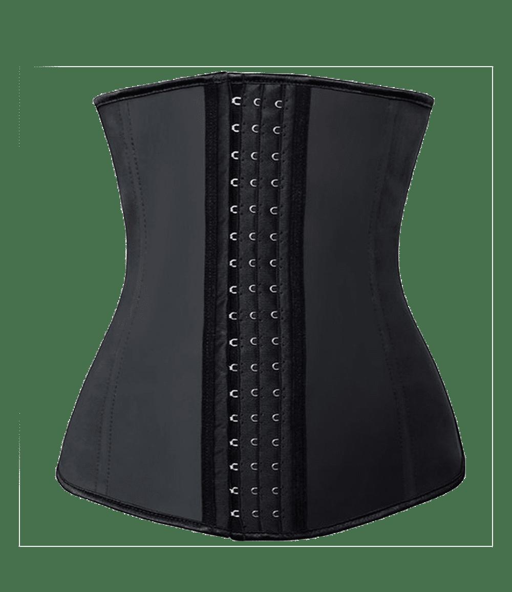 Czarny gorset wyszczuplający pod sukienkę, pas na brzuch pod sukienkę, gorset przed i po
